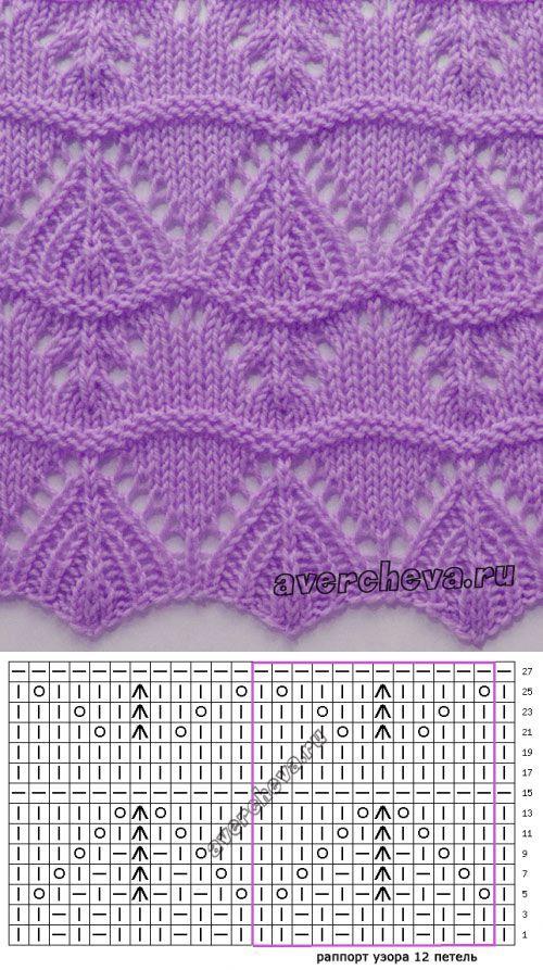 Lace knitting pattern 558 ~ Узор 558 спицами волнистый.