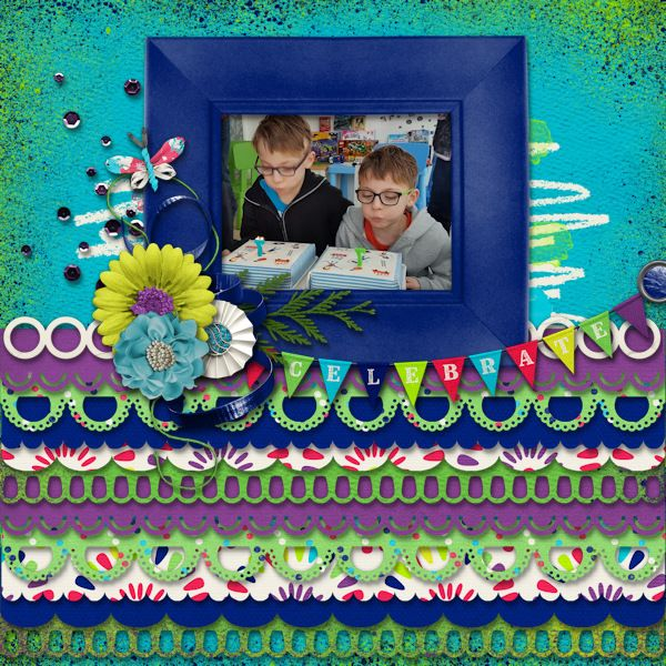 Celebrate - digital scrapbook layout -    Credits  High Spirits Grab Bag and Scallop City Template Pack by Mandy King  at Gingerscraps iNSD    http://store.gingerscraps.net/High-Spirits-Grab-Bag.html  http://store.gingerscraps.net/Scallop-City-Templates.html