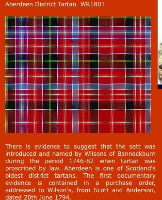 Aberdeen District Tartan - one of tartans I can wear.