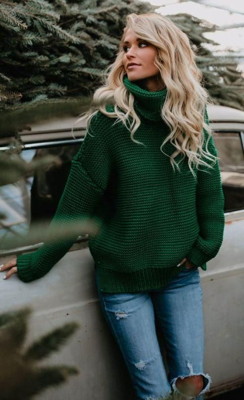 Green Ribbed Knit Turtleneck Sweater