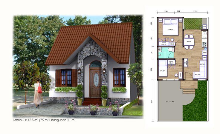 (Tirai-Bambu01) 41 m² house on 75 m² land with 2 bedrooms, 1 bathroom, and carport.