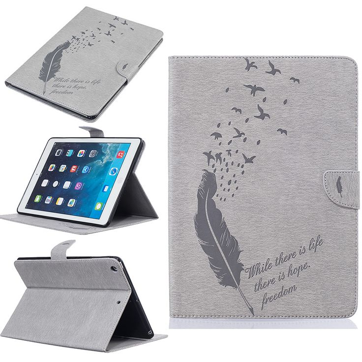 Luxury Tablet Feather Style PU Leather Cases For Apple Ipad Air 1 / iPad 5 /iPad Air1 /iPad5 9.7inch Cases Card Holders Covers