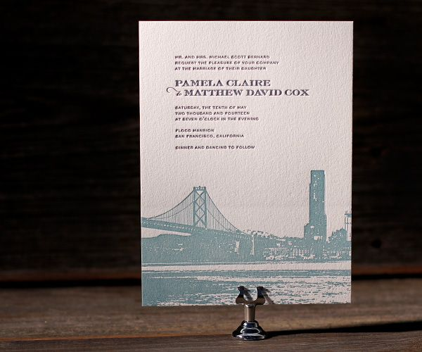 Modern Wedding Invitations Bella Figura Edge Painted Letterpress