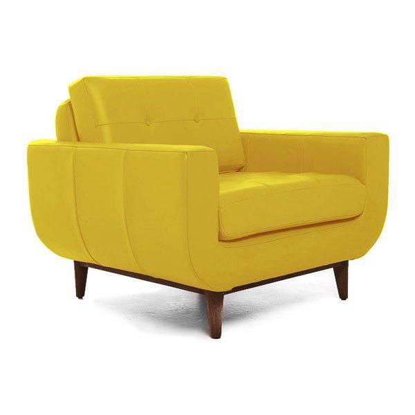 Joybird Gervin Mid Century Modern Yellow Leather Chair 1 647