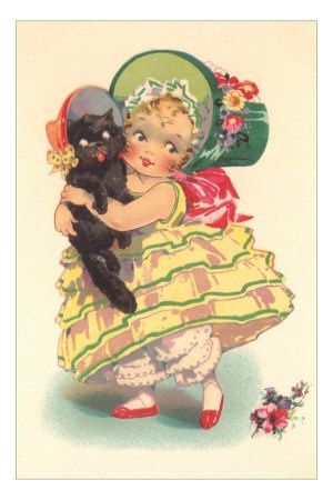 girl, black cat, kitten, bonnet, bloomers, hoop skirt