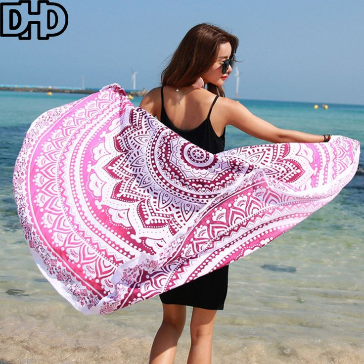 DHD 2017 New Bohemia Chiffon Printed Summer Bath Towel Round Beath Towel for Adults Women Swimming Towel serviette de plage #Affiliate
