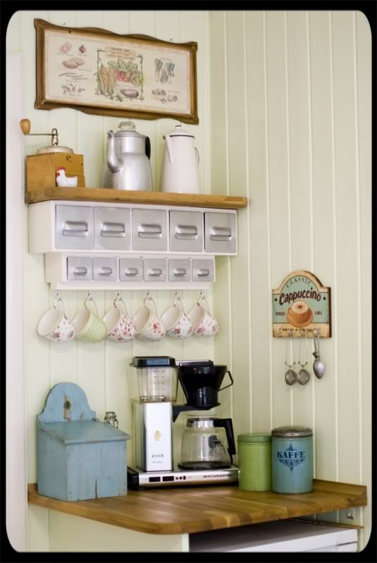 Adorable coffee/tea corner.: Coffee Bar Shelf, Coffee Teas Stations, Adorable Coffee Teas, Coffee Teas Corner, Coffee Corner Kitchens, Coffee Nooks Ideas, Coffee Corner Ideas, Coff Corner, Coffee Stations Ideas