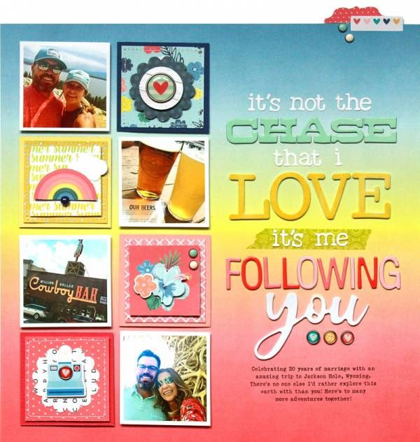 Rainbow Anniversary Layout in 2020 | Scrapbook cards ...
