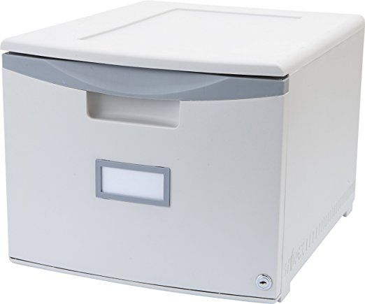 Storex Single Drawer Mini File Cabinet with Lock, 18.25 x 14.75 x 12.75 Inches, Legal/Letter, Gray (61261B01C)