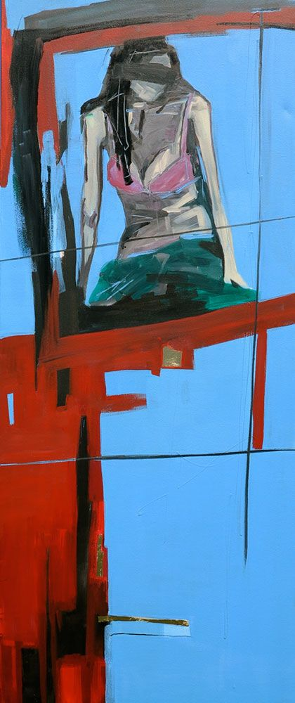 The Girl In The Pink Bra by Michaela Rinaldi at StateoftheART. This work is a statement piece as 90cm x 220cm!