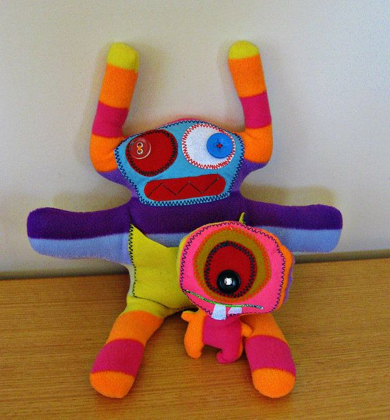 Soft little monster toys stuffed and cuddly for by C3N2KIDS, $40.00