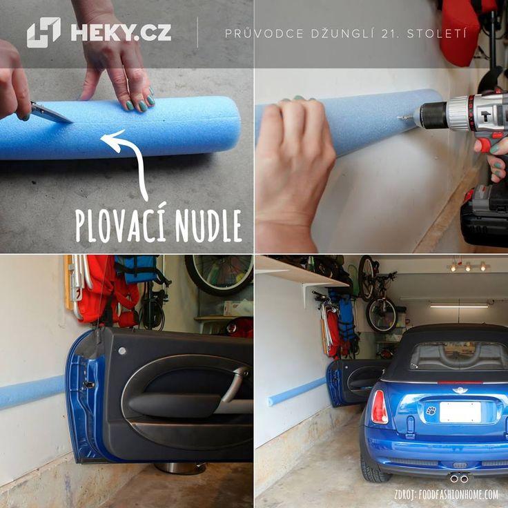 Další jednoduchá vychytávka z plovacích nudlí. Príma způsob, jak v garáži chránit dveře vašeho auta.