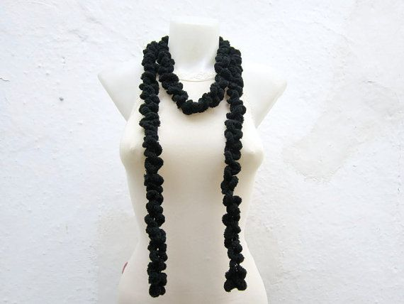 Hand crochet Long Scarf  Black Mulberry Scarf  by scarfnurlu