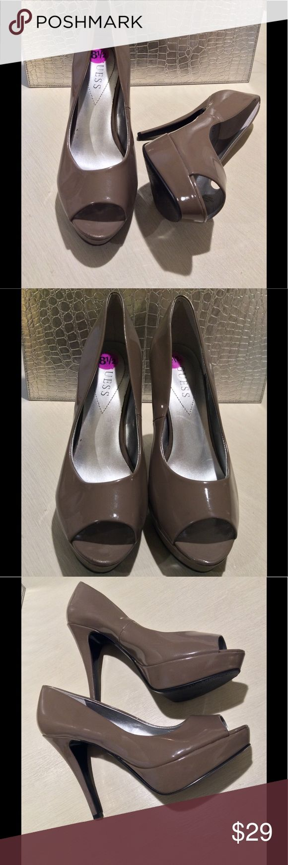 Guess Peeptoe Gray Heels Size 8.5, gray-mocha color, worn once, small scrapes in heels and scrape along left outer platform as shown otherwise excellent condition. 4-inch heel, 1-inch platform Guess Shoes Heels