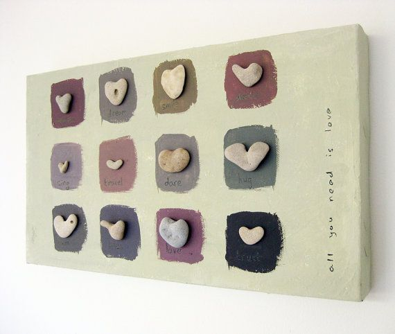 Wall decoration - Heart shaped Beach rocks