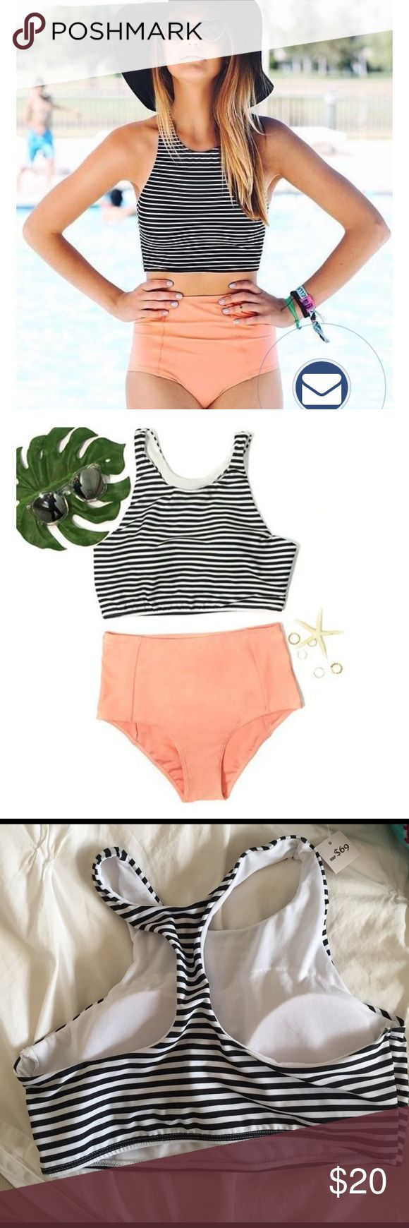 High waisted bikini with striped top Super cute high waisted bikini bottoms, peach colored and black and white striped top. New with protective seal, never been worn. 100% polyester. I typically wear a size small, these run a tad small Swim Bikinis