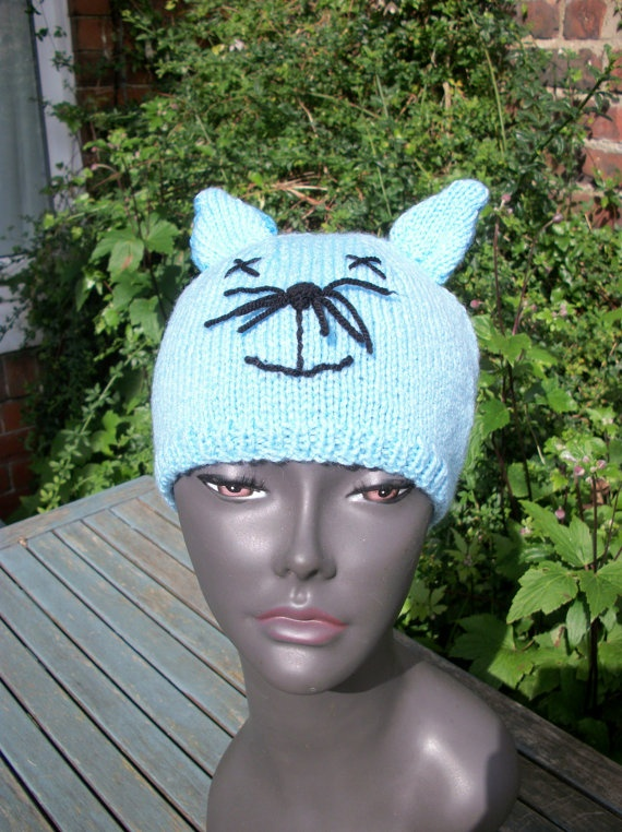 Baby blue Kitty Cat beanie hat with by thekittensmittensuk on Etsy, $25.00