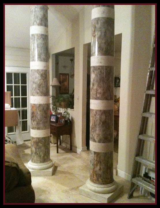 Amazing Faux Painted Columns Part - 9: Tumbled Marble Banded Columns Faux Painted, They Look Real!