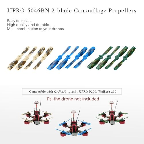12pcs Original JJRC JJPRO-5046BN 2-blade Propellers with Camouflage Pattern for JJPRO-P200 JJRC-X1 Kylin250 Falcon250 180 QAV250 QAV280 RC FPV Racing Drone Quadcopter