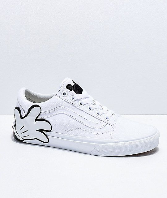 0e731c46e45 Disney by Vans Mickey Old Skool True White Skate Shoes in 2019 ...