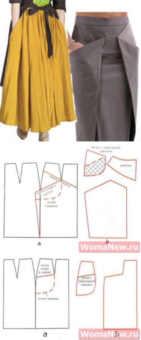 Юбка с карманами выкройка   WomaNew.ru - уроки кройки и шитья
