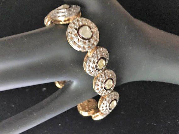 Sale! Edwardian Victorian Basket set design 6ct Micro Pave Halo Old Mine Diamond Enamel link Bracelet 18k Gold