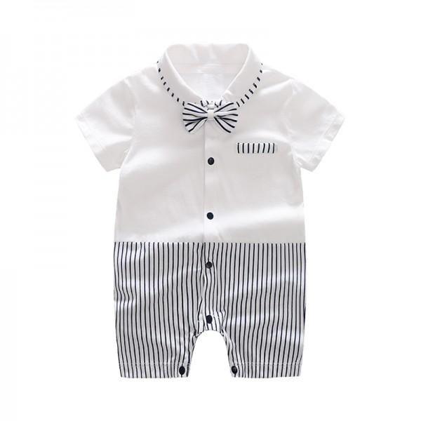 f378f8e23bfa Trendy Color-blocking Striped Bow Tie Short-sleeve Romper in White ...