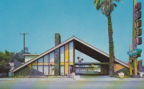 Rooms: Sky Palm Motel Postcard Orange CA, 1960's