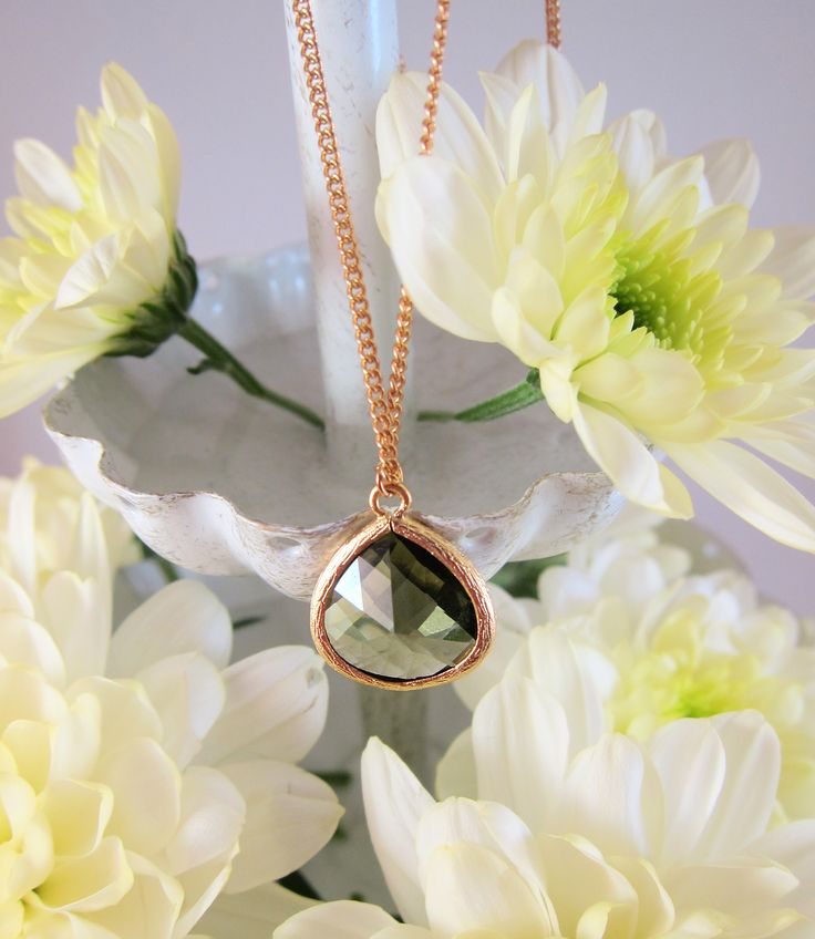 Gray Green Crystal Glass Teardrop Pendant Necklace, Gold Chain, Faceted