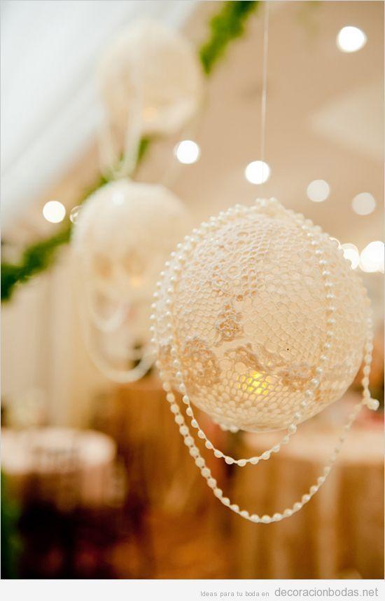 Decoración de boda, globos de ganchillo con perlas
