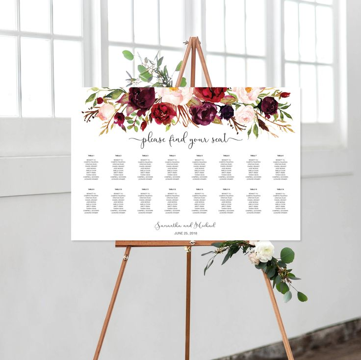Wedding Seating Chart, Marsala, Burgundy, Maroon, Floral, Watercolor, Horizontal, Printable, Find Your Seat by vocatio on Etsy https://www.etsy.com/ca/listing/587737467/wedding-seating-chart-marsala-burgundy