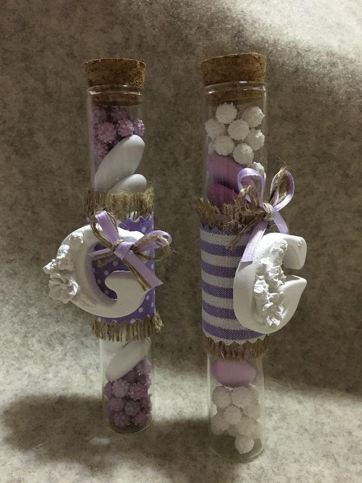 fialette in vetro con lettera G - il filo dei sogni handmade