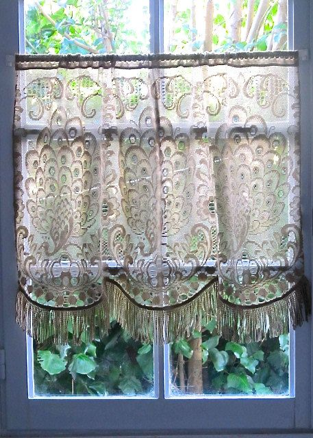 French Lace Kitchen Curtains Chandeliers Brown Curtain Mocha Coffee Peacock Country Cottage Decor I Love This