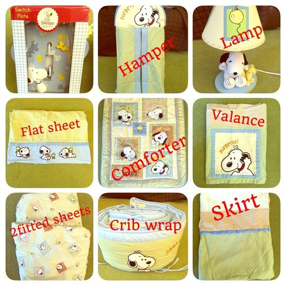 Snoopy baby Crib bedding set of 10 pieces Like new only used couple weeks.  Bed set includes: the comforter, crib wrap, crib skirt, 2 fitted sheets, flat sheet, hamper, window valance, cute lamp and switch plate. They are really in great condition. Used for less than 6 months I have to mention that the brio wrap is really thick and I liked that. Other