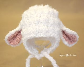Earflap lamb hat, instructions give several sizes, as well as instructions for both worsted weight and bulky yarns.