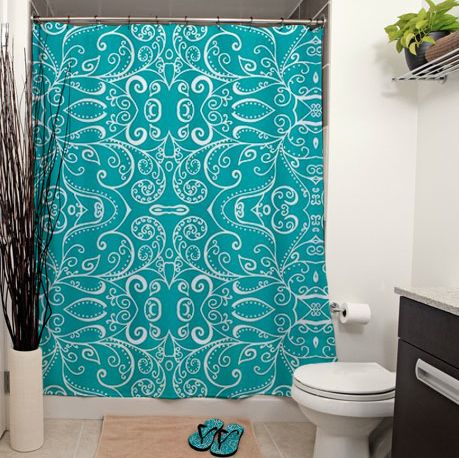 Silent Era, Turquoise Shower Curtains by Janet Antepara