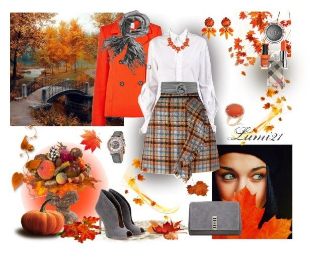 orange autumn by lumi-21 on Polyvore featuring Yohji Yamamoto, L.K.Bennett, MSGM, Gianvito Rossi, Proenza Schouler, Stührling, Elizabeth Cole, ADA Collection, Christian Dior and Burberry