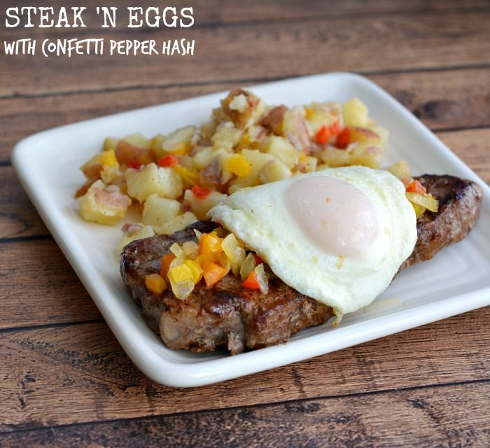 Strip Steak n' Eggs with Confetti Pepper Hash Recipe # ...