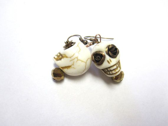Sugar Skull Earrings Day of The Dead Post Stud by sweetie2sweetie, $7.49