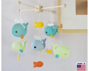 Baby Crib Mobile, Baby Mobile, Whale Mobile, Whale Nursery Decor, Sunflower Aqua…