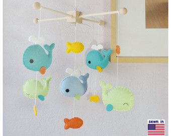 Baby Crib Mobile, Baby Mobile, Whale Mobile, Whale Nursery Decor, Sunflower Aqua…