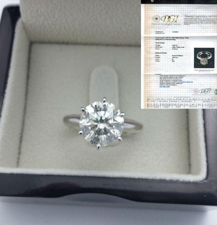 3 CARATS DIAMOND RING ROUND BRILLIANT SOLITAIRE SI 14K WHITE GOLD CERTIFIED RB #PrestigeDiamonds #Solitaire