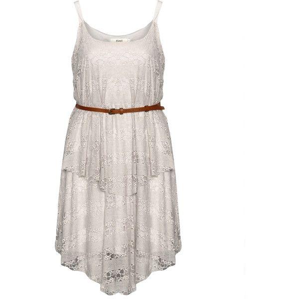 Zizzi Layered lace dress with belt ($108) ❤ liked on Polyvore featuring dresses, lace dress with belt, belt dress, lacy dress, belted dresses and dresses with belts