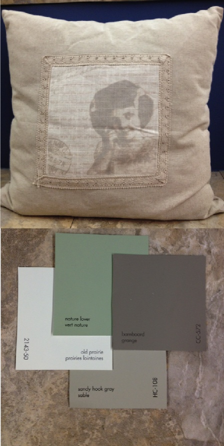 Paint Colours from left to right:  2143-50 old prairie, CC-726 nature lover, HC-108 sandy hook gray and CC-572 barnboard.