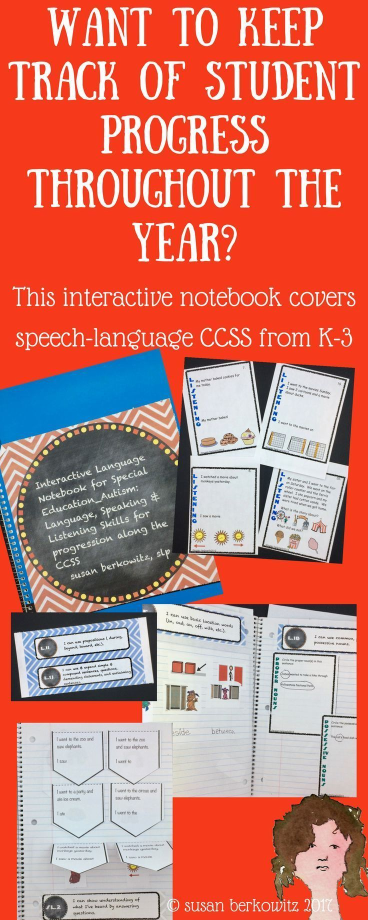 Help meet the Common Core State Standards with your speech-language therapy or special education students with the newly revised (10-15) and improved Interactive Notebook for Language Skills.  This resource contains the materials and activities for speech therapists and special education teachers to create interactive notebooks for language, speaking and listening to track progress and provide a tangible records for students.There are:I can...