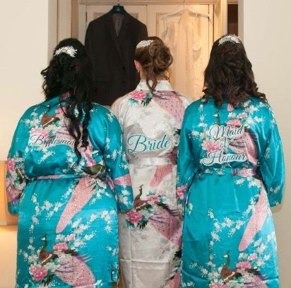Bridesmaids, bridal hair and dressing gowns