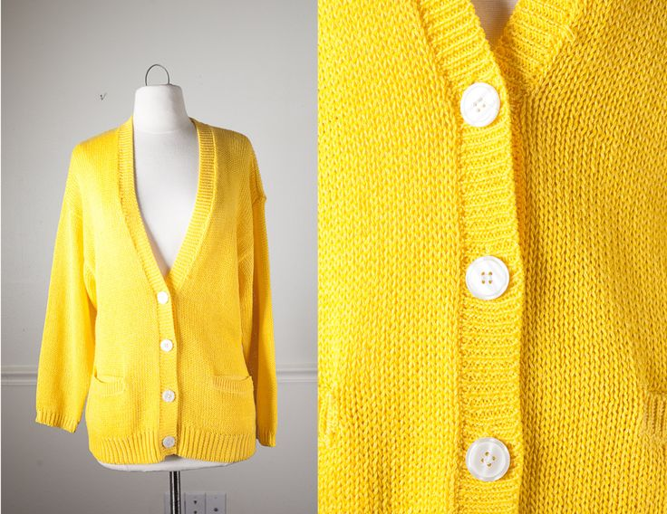 1980s Bright Yellow Sweater / Vintage 80s Sweater / Yellow Cardigan Sweater / Retro Sweater / Oversized Boyfriend Cardigan by BlueHorizonVintage on Etsy