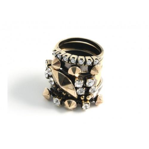 Iosselliani - Set of 5 Brass Rings with Swarovski Stones
