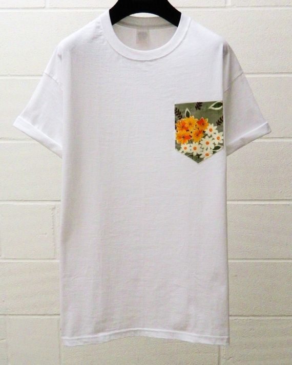Men's Orange and White Floral Pattern White by HeartLabelTees