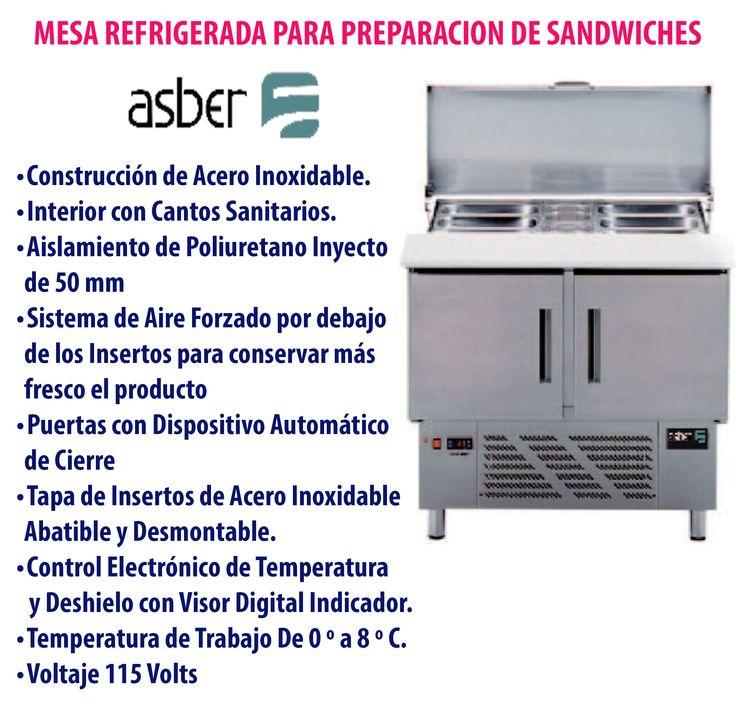 Mesa para preparación de sandwiches #Asber.